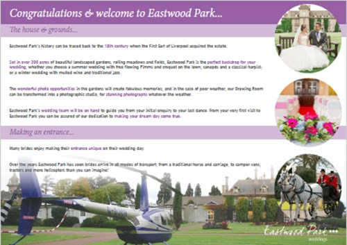 Image of the Eastwood Park Wedding brochure